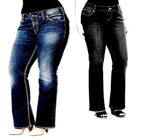 Avenue Womens Plus Size PETITE Bootcut Stretch BLUE BLACK Denim JEANS Pants 8X (16P, BLACK)