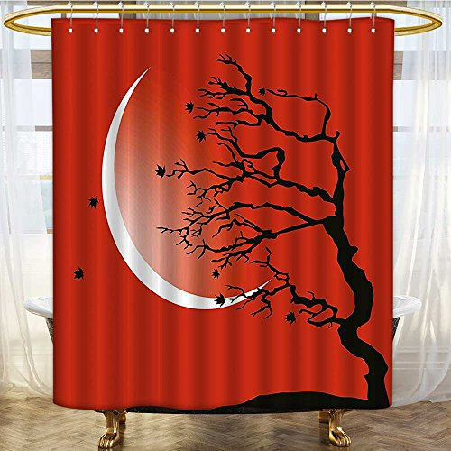 (AmaPark Bath Curtain Water Repellent Mold Scene with Tree Windy Branches Crescent and Stars Red Black White Mold/Mildew Resistant 48 x 72 inches)