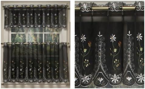 Samantha Embroidered Sheer Kitchen Curtain – Valance Black
