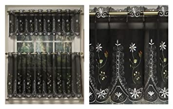 Amazing Samantha Embroidered Sheer Kitchen Curtain   Valance Black