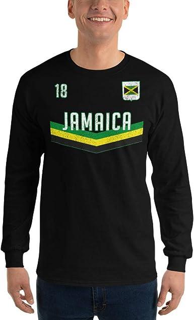 Up Wits Creek Novelty T Shirts Jamaica Soccer Jersey Mens Long Sleeve T Shirt Jamaican Flag Womens Football Cup Tee