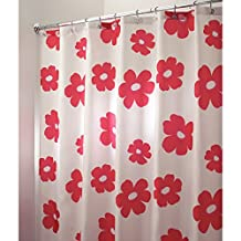 "InterDesign Poppy Floral Fabric Shower Curtain - Stall, 54"" x 78"", Red"