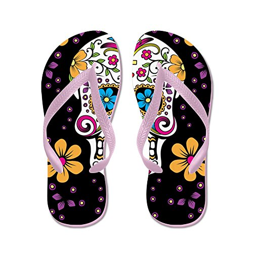 CafePress Sugar Skull BLACK Sandals