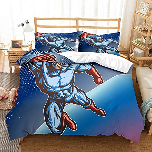 (PATATINO MIO Cartoon Superman Bedding Set Flying Superman in Red Boots Fist Shiny Blue Duvet Cover Set Queen for Kids, Boys and Girls,3PCS with 1 Duvet Cover 2 Pillowcase)