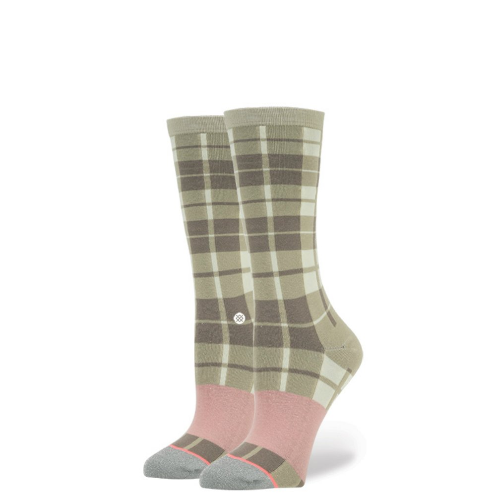Stance Girls' Little Granpa Plaid Reinforced Toe Arch Support Knee High Sock, Silver, L
