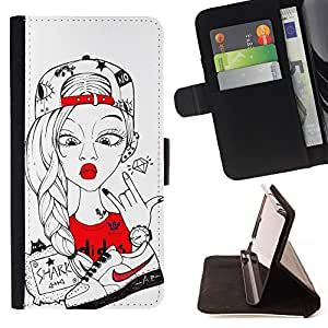 King Air - Premium PU Leather Wallet Case with Card Slots, Cash Compartment and Detachable Wrist Strap FOR Samsung Galaxy S6 G9200- Cartoon Girl Cute