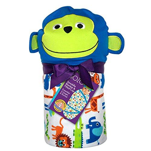 (Sozo Baby-Boys Newborn Green Jungle Swaddle Blanket and Cap Set, Blue/White/Orange, One Size)