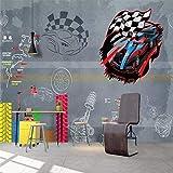 YShasaG Silk mural Retro Racing Hand-Painted Bar Car Background Wall Wallpaper Mural Custom Photo Wall,500cm*280cm