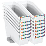 "Really Good Stuff Non-Tip Book and Binder Holders, 5½"" by 13½"" by 7¾"" (Set of 12) – 21 Colors Available - Magazine, Folder Bins with Stabilizer Wings, Built-in Label Holder – Durable, Won't Fall Over"