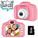Gifts for 3-8 Year Old Girls Joyjam Kids Camera 8.0 MP Digital Cameras for Children Video Record Electronic Toy Birthday Gifts Christmas Pink