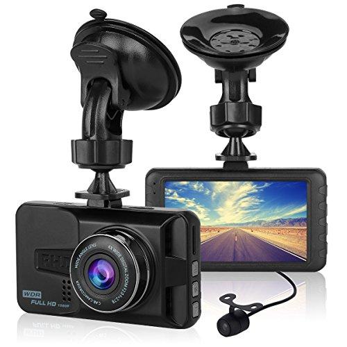 ULU 1080P Dash Cam Front + VGA Rear 290°Dual Lens Super Wide Angle Car DVR Full HD Dashboard Camera Recorder with 3 inch LCD,G-Sensor,Parking Monitor,WDR,Loop Recording,Night Vision,Car Black Box
