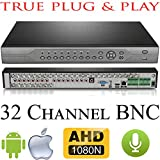 USG HD 32 Channel DVR : AHD, Analog + IP : Up To IP 2MP 1080P : 32Ch @ 960H @ 30FPS : 32Ch @ 1080H or 960P @ 15FPS : Up To 8TB 2x SATA, HDMI+VGA, Audio, Alarm, PTZ, Motion Detection : Free Phone App