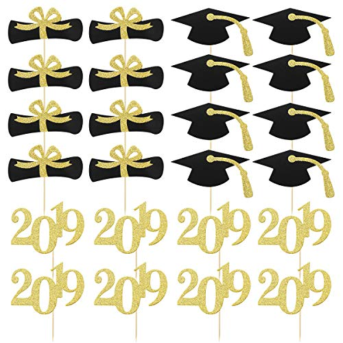 Amosfun 24pcs 2019 Congrats Grad Cake Topper Class of 2019 Graduate Party Decorations Supplies - High School Graduation, College Graduate Cake Topper - Graduation Photo Props -