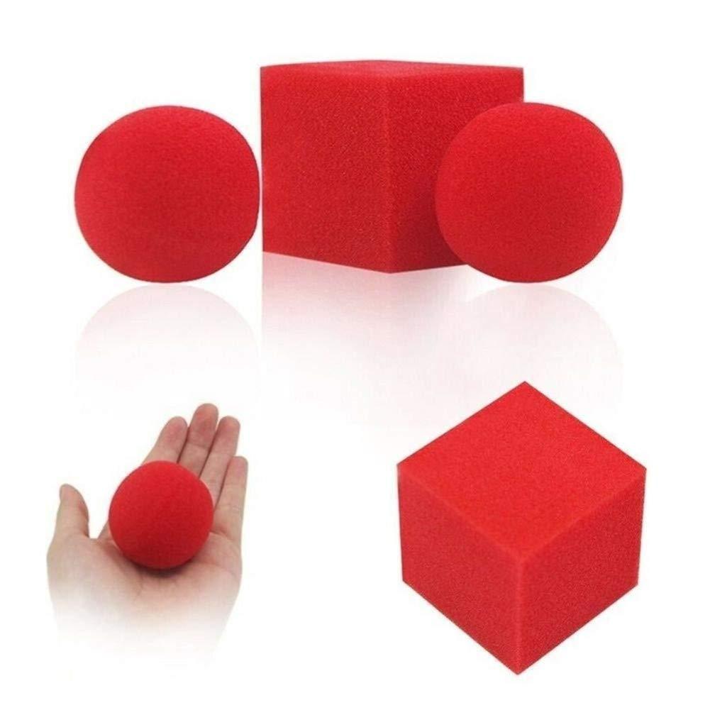 Trucos de Magia de la ilusi/ón 1block 2 Esponja Bolas m/ágicas Puntales Primer Plano de la Calle Rojo cl/ásico Magic Toys Color : Magic