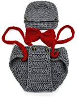 Wolkstore Cute Newborn Costume Crochet Outfits Baby Photograph Props (gray+red)