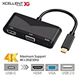 Xcellent Global USB C 4 in 1 Adapter Type C to 4K HDMI 1080P VGA 3.55mm Audio USB 2.0 Converter Dual Screen Display for Apple Mac book Lenovo Samsung Galaxy Google ChromeBook Lumia PC052