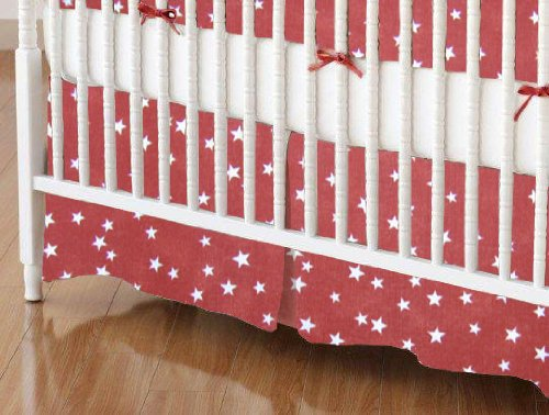 SheetWorld - Crib Skirt (28 x 52) - Cloudy Stars Rust - Made In USA
