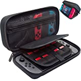 [Large Model] ButterFox Hard Case Stand for Nintendo Switch,Fits Wall Charger,Built-in Stand, 19 Game card holders, Large Pouch Case for Nintendo Switch Console and Accessories Red/Black (Black)