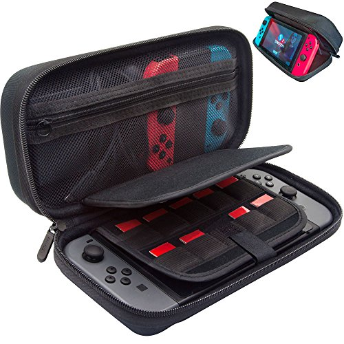 Metal Slider Case - [Large Model] ButterFox Hard Case Stand for Nintendo Switch,Fits Wall Charger,Built-in Stand, 19 Game card holders, Large Pouch Case for Nintendo Switch Console and Accessories Red/Black (Black)