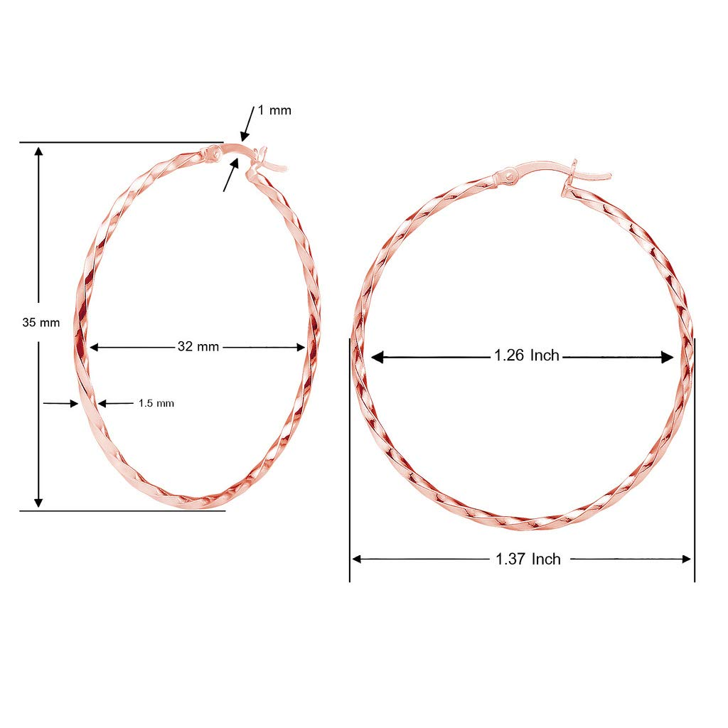 60mm Sterling Silver Rose Gold Flashed High Polished Round Twist Click-Top Hoop Earrings Choose Your Size 12mm