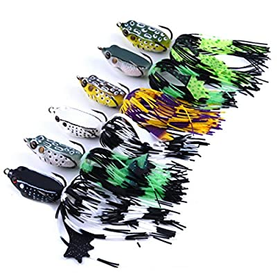 Aorace 6pcs/lot 5.08cm/6.86g Classic Frog Fishing Lure Crank Bait Bass Tackle Hook Plastic Crank Baits Double Claw-Like Hook