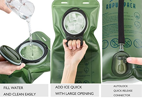 RUPUMPACK Water Bladder Leak Proof BPA Free Hydration Bladder 3 Liter 3L 100oz for Bicycling Hiking Camping Backpack/Gear, Quick Release Insulated Tube, Non Toxic Easy Clean Wide Opening … by RUPUMPACK (Image #2)