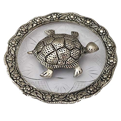 Divya Mantra Feng Shui Metal 4 Inch Tortoise/Turtle with Glass Water 5.5 Inch Diameter Plate; Vastu Living Positivity, Wealth, Money, Good Luck & Longevity; Home, Office Decor Gift Items/Products (Silver Tortoise)
