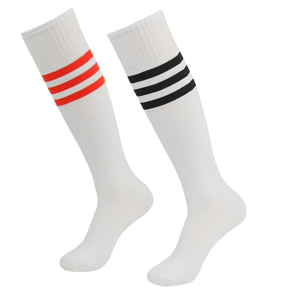 saillsen College Soccer Socks Unisex Knee High Triple Stripe Breathable Sports Durable Socks 2 Pairs White Red Stripe & White Black Stripe One Size by saillsen
