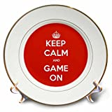 3dRose Gaming - Keep Calm And Game On Red - 8 inch Porcelain Plate (cp_261103_1)