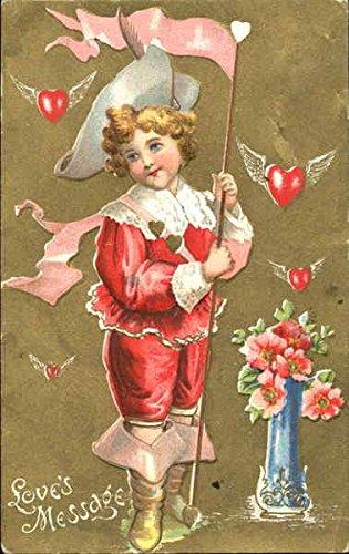 Boy in cavalier dress with flowers Children Original Vintage Postcard