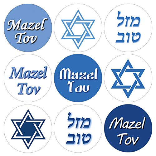Blue Bar Mitzvah Mazel Tov Candy Favor Labels | 216 Stickers