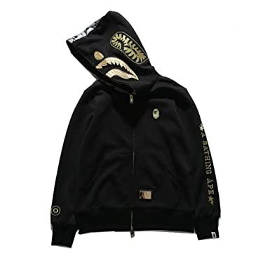 Fashion Bape Black Gold Embroidery Cotton Shark Hooded Sweater Casual Jacket  for Men Women at Amazon Men s Clothing store  6b4b8d100478