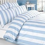 Louisiana Bedding Vertical Stripe Blue & White Duvet Cover Set 100% Cotton 200 Thread Count - King