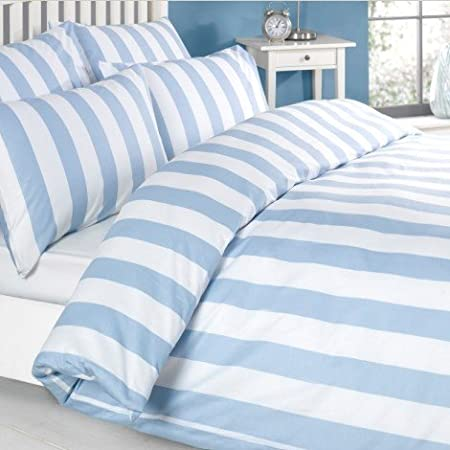Louisiana Vertical Blue White Stripe Duvet Cover Set 100 Cotton