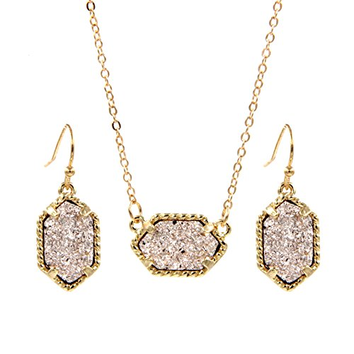 YUJIAXU Framed Oval Faux Druzy Chic Choker Necklace + Drop Earrings Jewelry Set Women's Super (Gold (Framed Oval Pendant)