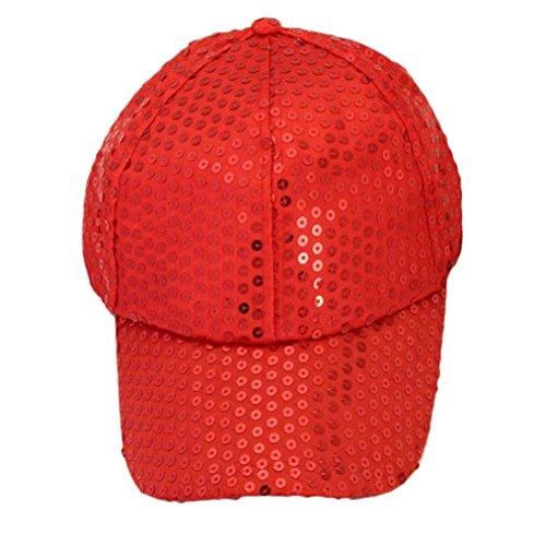 Baseball Cap Glitter, Sequins Shiny Adjustable Cotton Plain Caps Dad Ponytail Hat (Red)