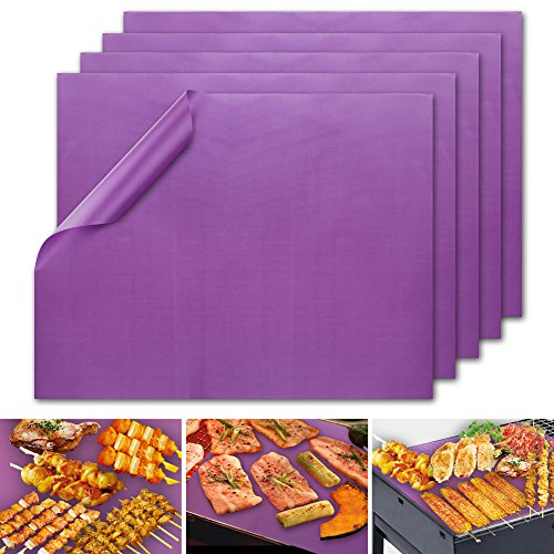 Accmor Rainbow Series Grill Mat Set of 5 – 100% Non-stick BBQ Grill & Baking Mats – PFOA Free, Reusable and Easy to Clean - Works on Gas, Charcoal, Electric Grill and More (Brilliant Purple )