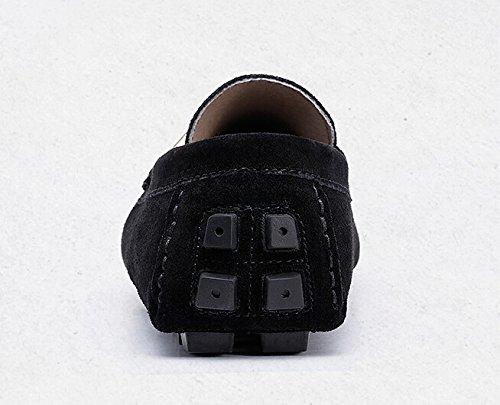 Happyshop (tm) New Nubuck Sueco De Cuero Informal Slip En Mocasines De Conducción Para Hombre Zapatos Mocasín Negro