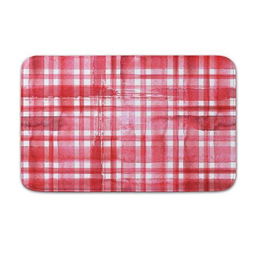 DKISEE Indoor Outdoor Entrance Rug Floor Mat Bathmat Red Valentine Plaid Doormat, 15.7