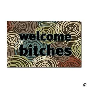 msmr Felpudo entrada Felpudo–bienvenida Bitches Floor Mat antideslizante Felpudo 23.6pulgadas por 15,7pulgadas Máquina lavable tela no tejida