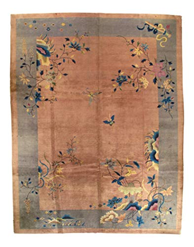 Art Deco Chinese Rug - Early 20th Century Antique Chinese Art Deco Area Rug - 8′11″ × 11′6″ Peach Gray' chaina D03272