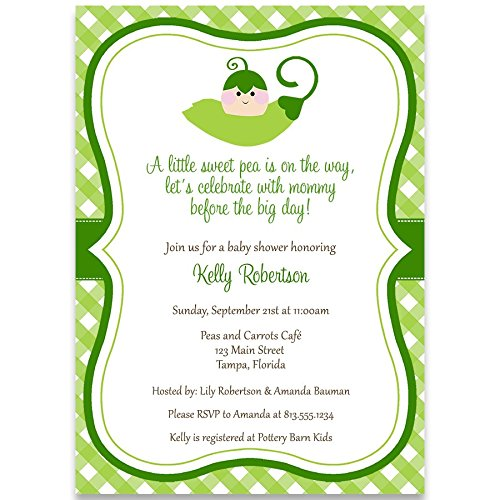 Sweet Shower Invitations Baby Pea - Baby Shower Invitation, Sweet Peas, Green, Sweet pea, Unisex, Gender Neutral Baby Shower Invite, 10 Custom Printed Invites with White Envelopes
