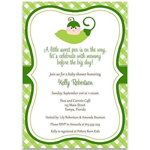 (Baby Shower Invitation, Sweet Peas, Green, Sweet pea, Unisex, Gender Neutral Baby Shower Invite, 10 Custom Printed Invites with White Envelopes)