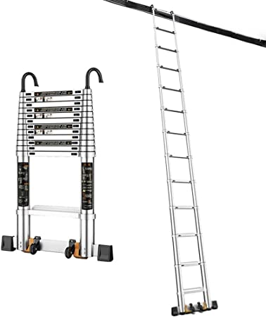 Escalera telescópica Escalera de extensión telescópica portátil Plegable de Aluminio para Uso en el hogar de RV en Exteriores, 1.8m / 2.5m / 3.2m / 3.9m / 4.6m / 5.3m, Gancho de: Amazon.es: Hogar
