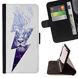 DEVIL CASE - FOR Samsung Galaxy S3 Mini I8190Samsung Galaxy S3 Mini I8190 - Lightning Ac Current Lion Power Grey - Style PU Leather Case Wallet Flip Stand Flap Closure Cover