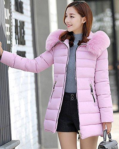 ZhuiKun Cerniera di Giubbino con Imbottito Donna Calda Invernale Giacca Pink Pelliccia Cappuccio Cappotto rZxaOYrwq