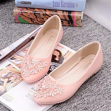Cómodo y elegante soporte de zapatos de las mujeres pisos de primavera/verano/otoño/invierno cuero sintético comodidad/pisos oficina y carrera/casual talón soporte de flores rosa