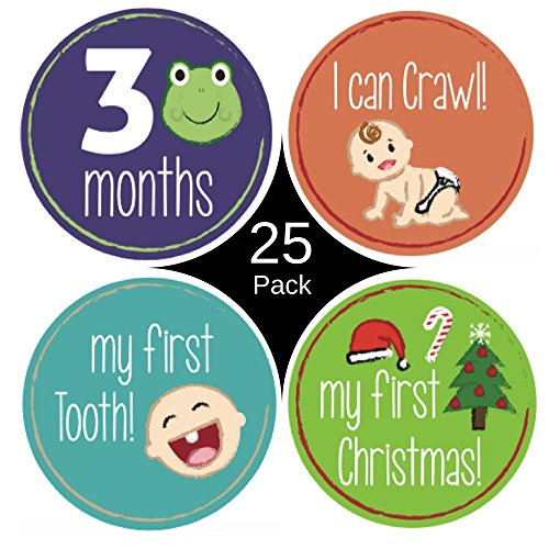 Baby monthly milestone stickers for boy or girl - (25 Pack) Newborns or infants - Premium first year monthly keepsake stickers - 0 to 12 month belly stickers with holidays. Perfect baby shower gift.