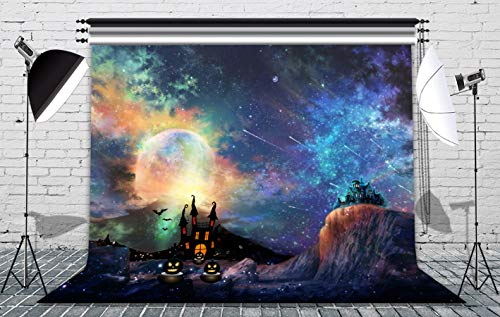 (7x5ft Halloween Photographic Backdrops Full Moon Moonlight Backdrop Colorful Interstellar Planet Mysterious Castle Photography Background Party Decor Kids Portrait Photobooth Studio Props)