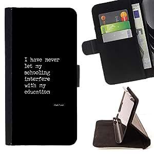 BullDog Case - FOR/LG G2 D800 / - / black white text poster quote education /- Monedero de cuero de la PU Llevar cubierta de la caja con el ID Credit Card Slots Flip funda de cuer